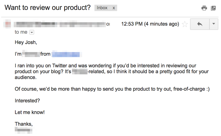 product review outreach