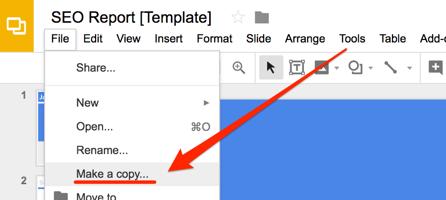 How to make a copy of the SEO report template in Google Drive.