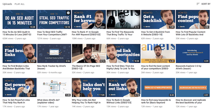 Ahrefs YouTube Channel Sorted By View Count