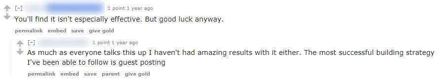 broken link building comments on reddit