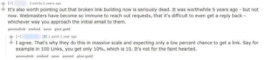broken link building comments on reddit 2