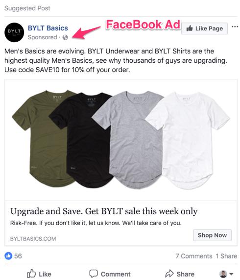 FaceBook ad example
