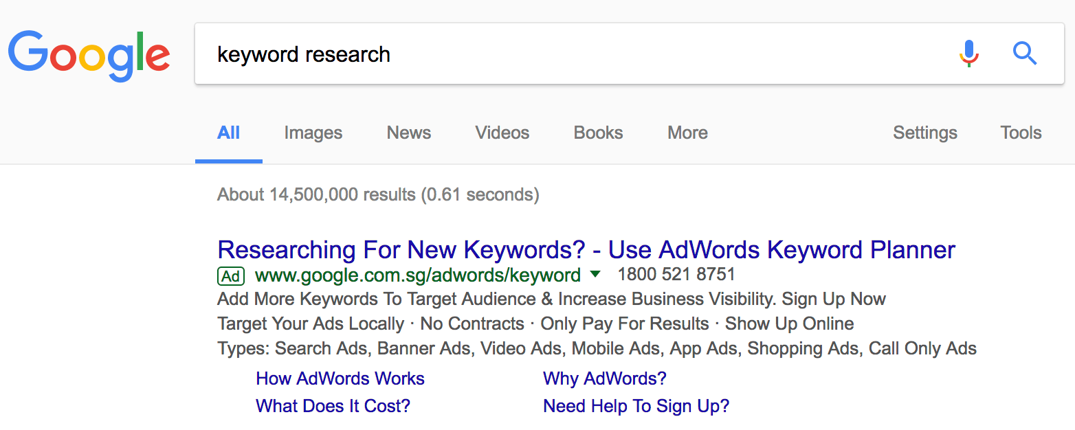 keyword research Google Search
