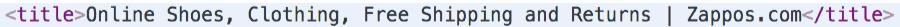 tag de título do zappos