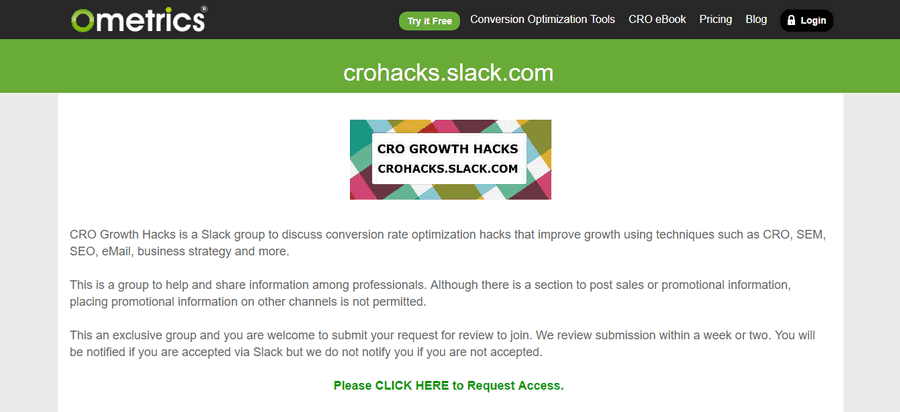 cro growth slack
