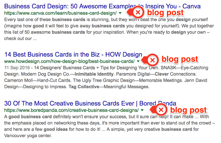 best business card ideas serps