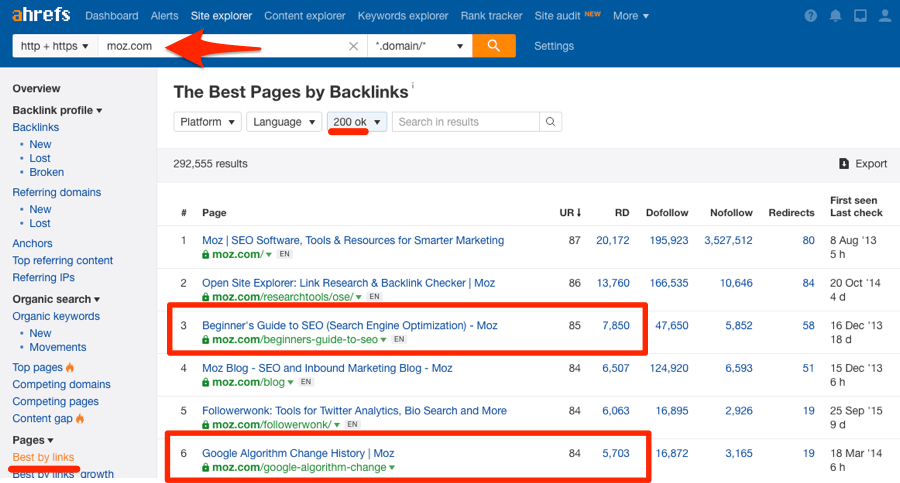 moz best by links report ahrefs