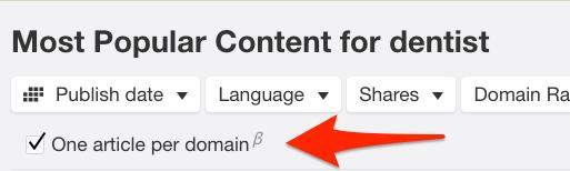 one article per domain content explorer