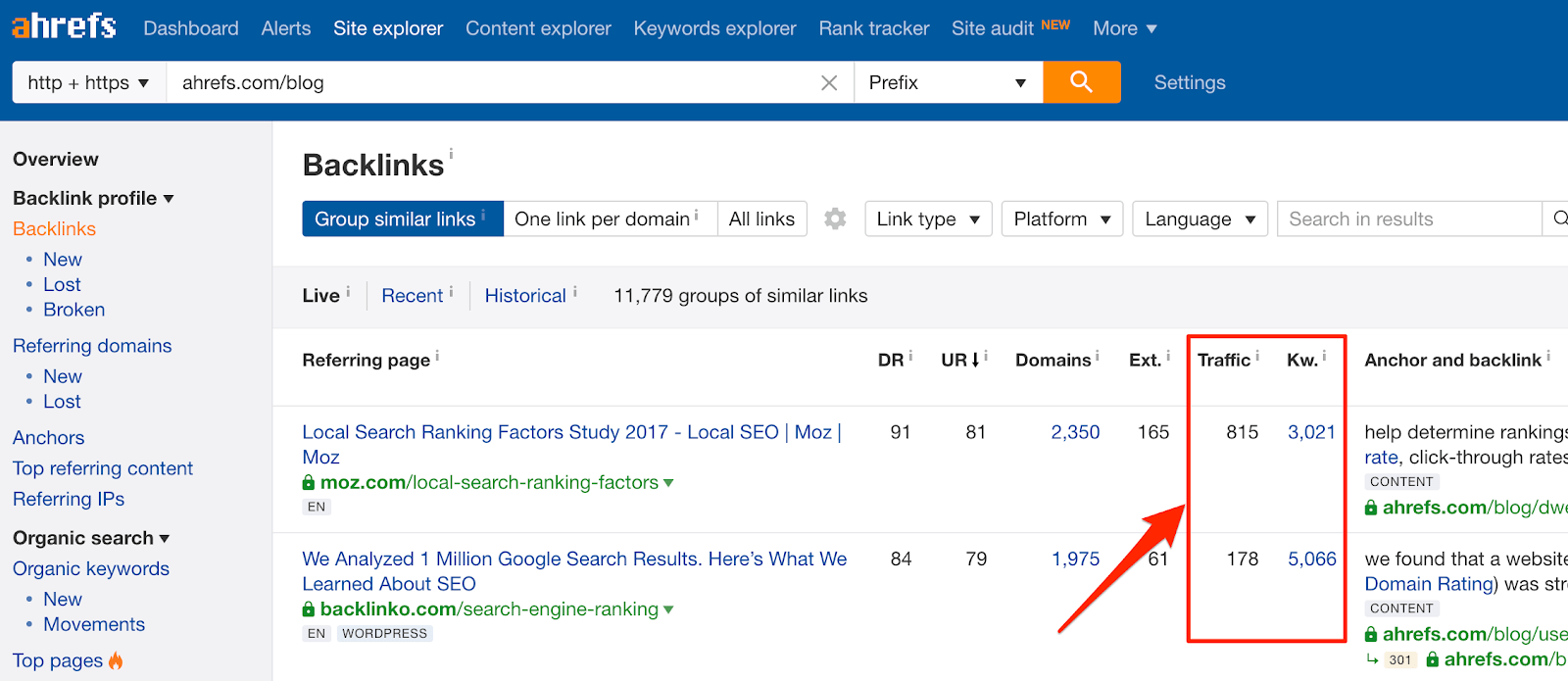 External Backlinks grouped by Similar Links ahrefs com blog on Ahrefs