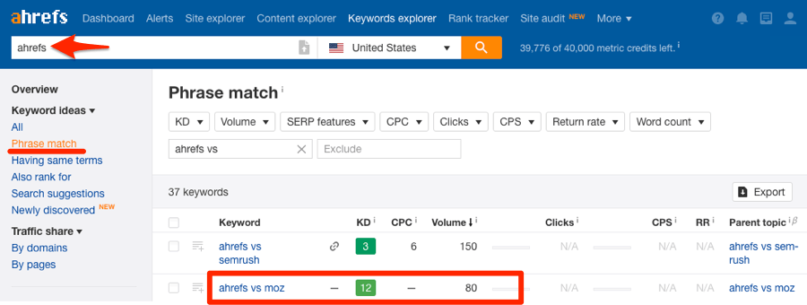 ahrefs phrase match keywords explorer