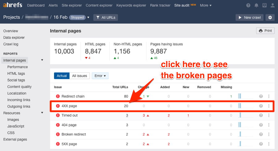 ahrefs site audit cassé interne 4XX