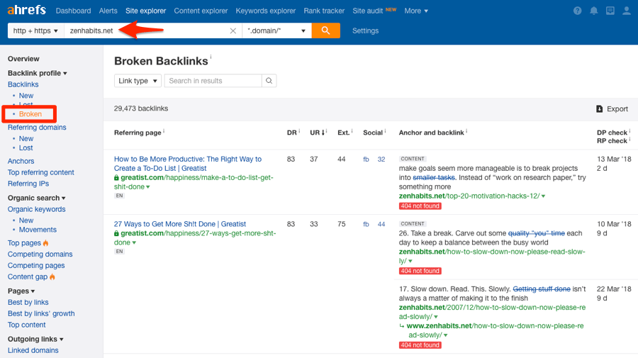 broken backlinks report ahrefs site explorer