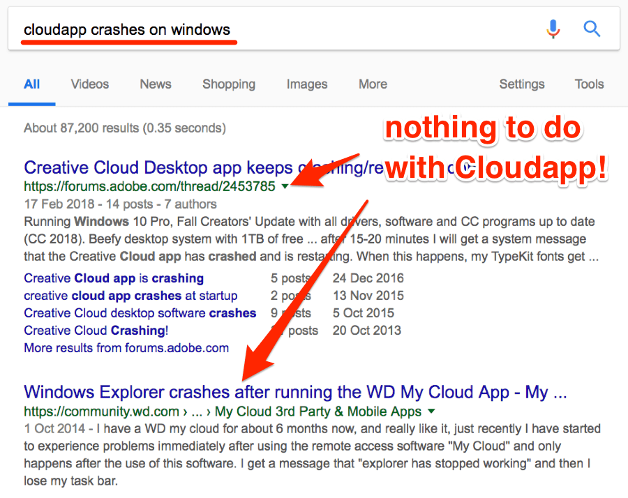 cloudapp crashes on windows serps