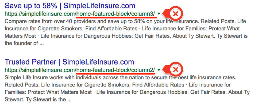 simple life insure junk in serps