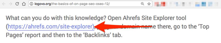 site explorer link