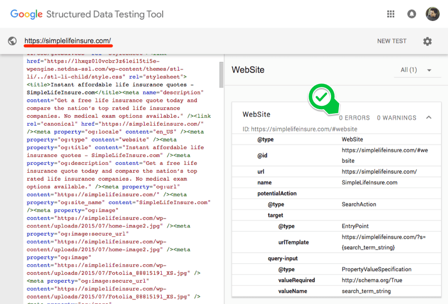 structured data testing tool simple life insure