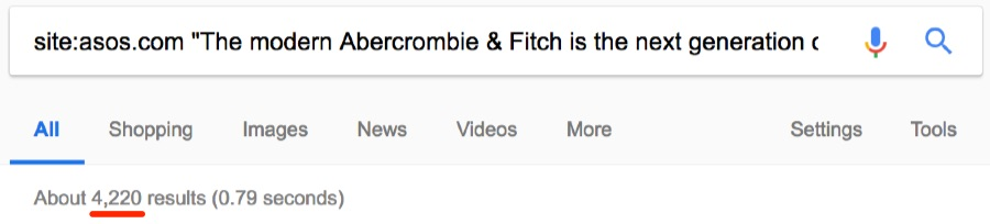 abercrombie and ahrefs from fitch duplicate the same domain
