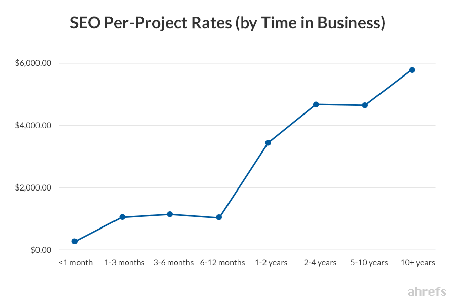 14 SEO Per Project Rates by Time in Business