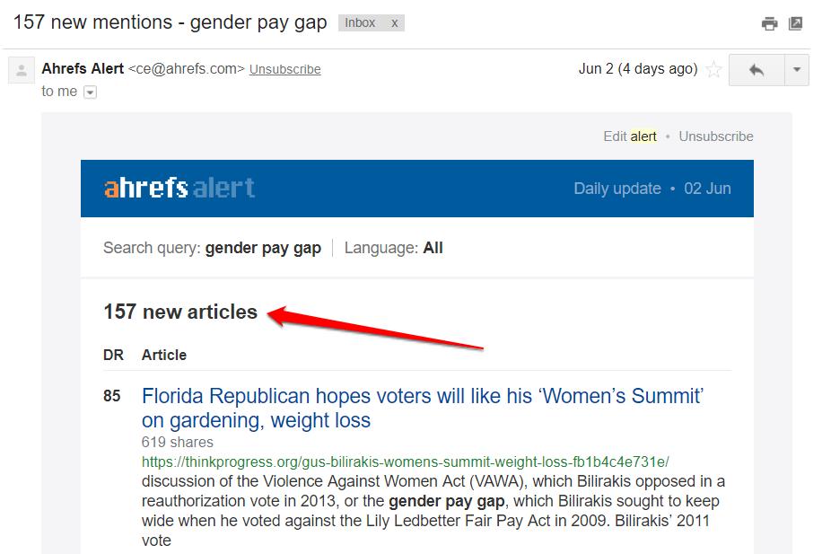 ahrefs alert email