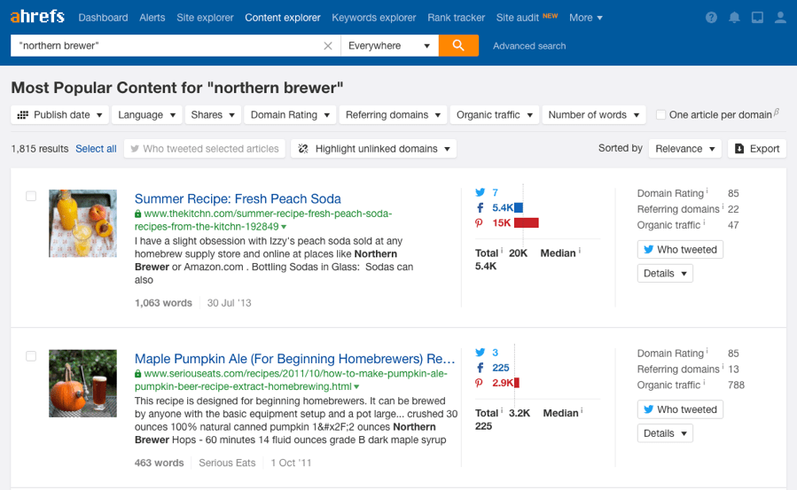 northern brewer content explorer