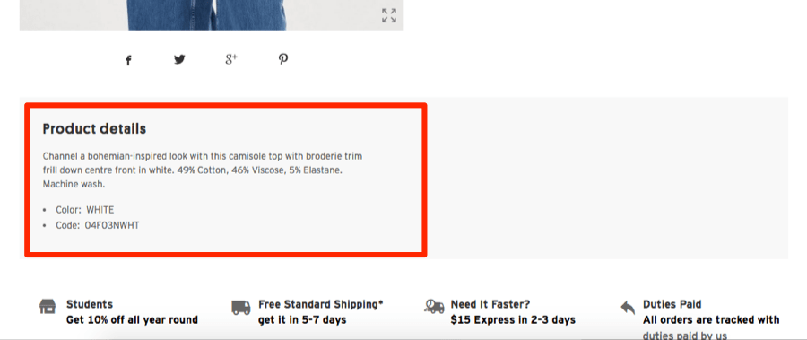product description topshop
