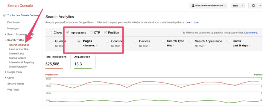 search console pages