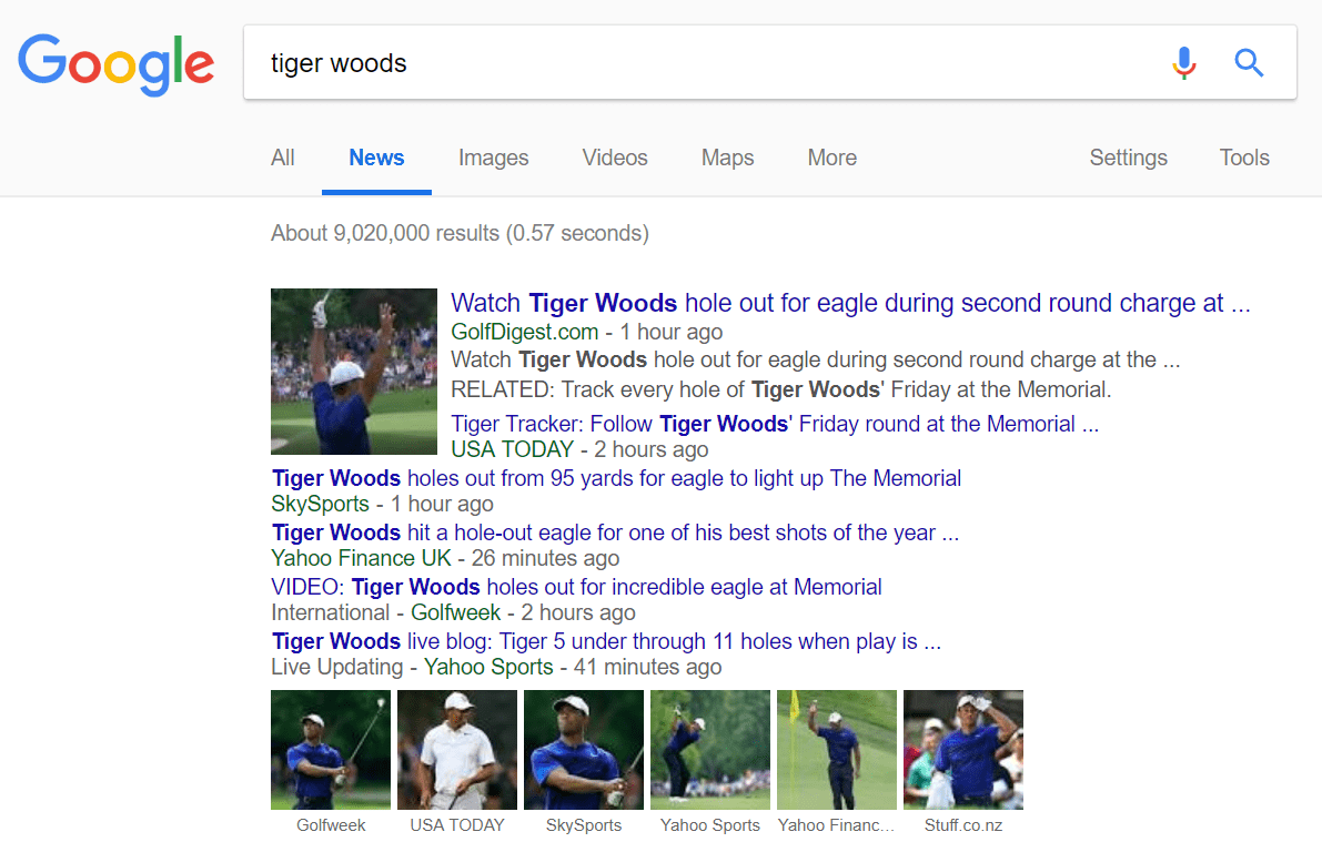 tiger woods google news