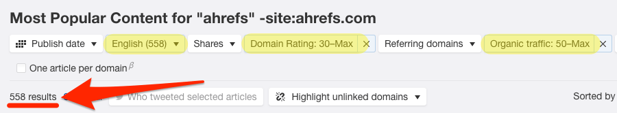 ahrefs content explorer mentions filtered
