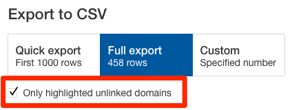 export unlinked domains