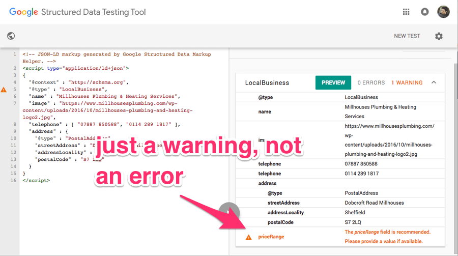 google structured data testing warning