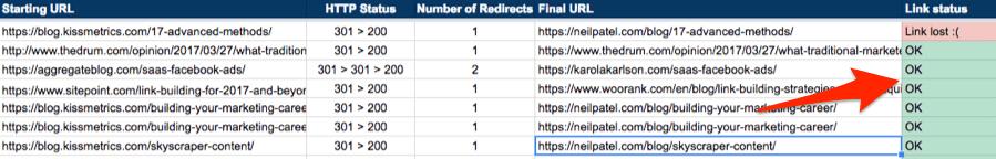 link status spreadsheet