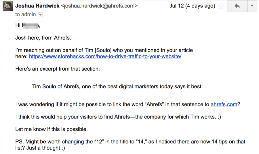 outreach email unlinked mention