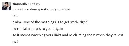 tim slack link reclamation