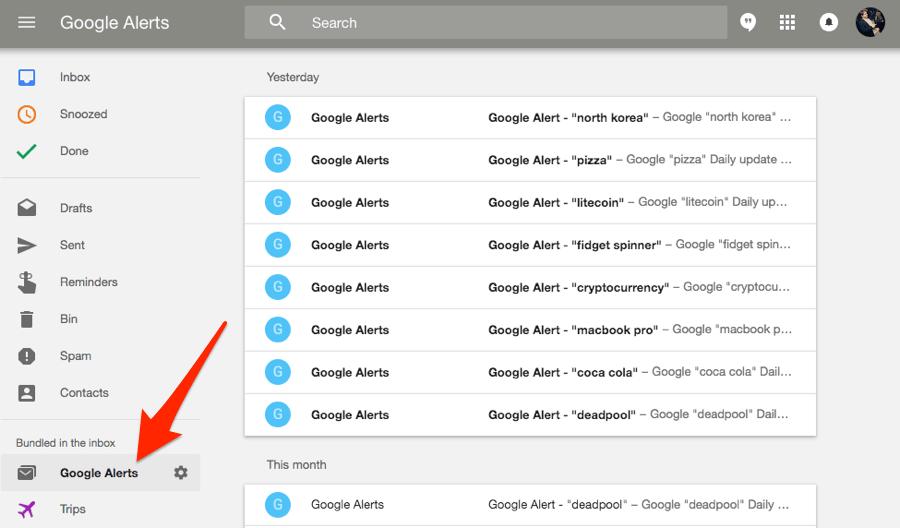 google alerts inbox google