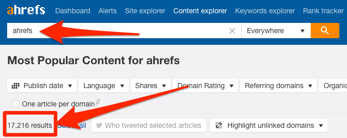 ahrefs brand search content explorer