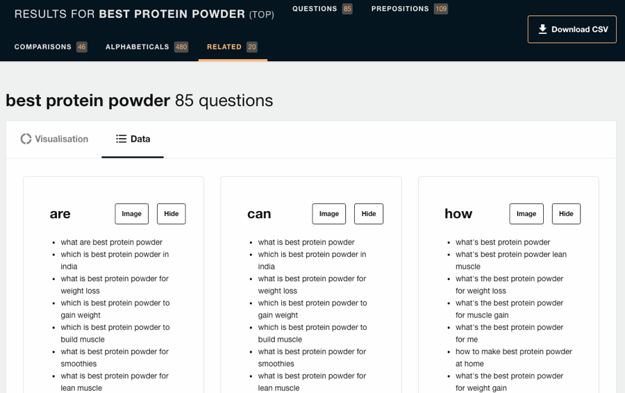answer the public best protein powder