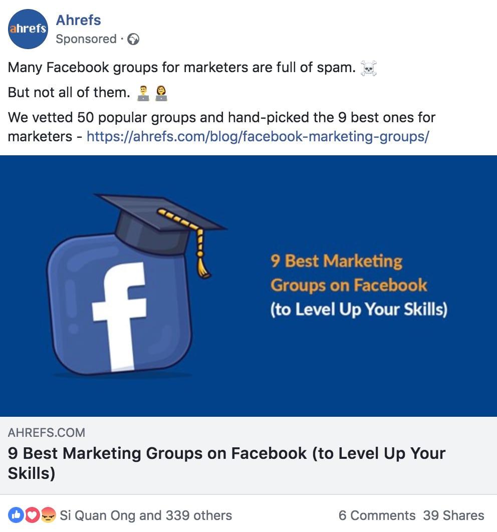 facebook ahrefs ad