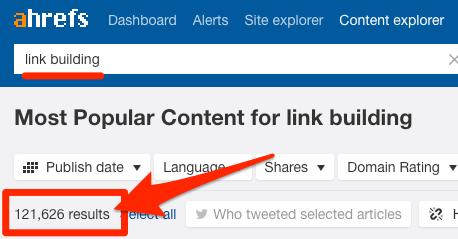 Ví dụ content explorer với từ khóa link building