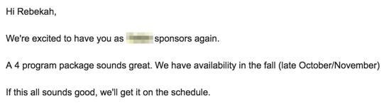 email de sponsor de gros podcast