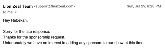 lion zeal podcast sponsorship