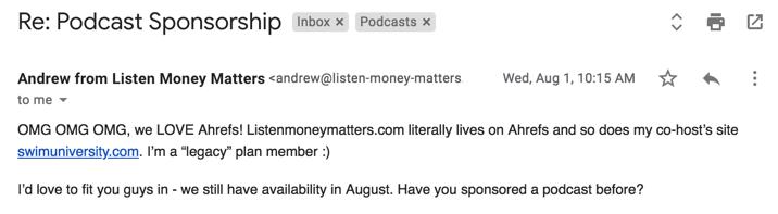podcast sponsorship communications best