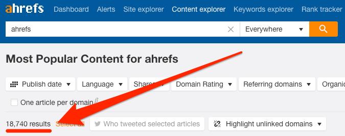 ahrefs mentions content explorer