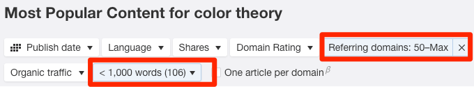 content explorer filters
