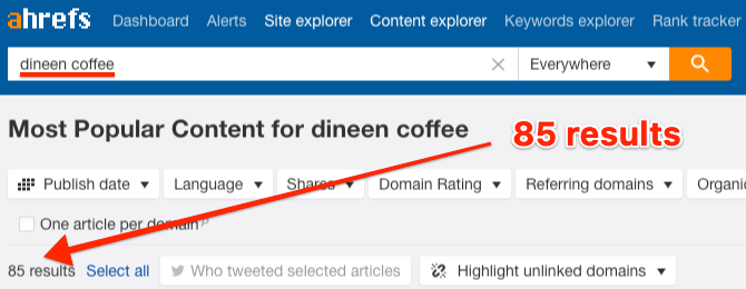 dineen coffee content explorer