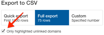 export only highlighted domains