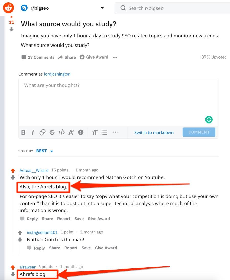 consigli sul blog ahrefs reddit