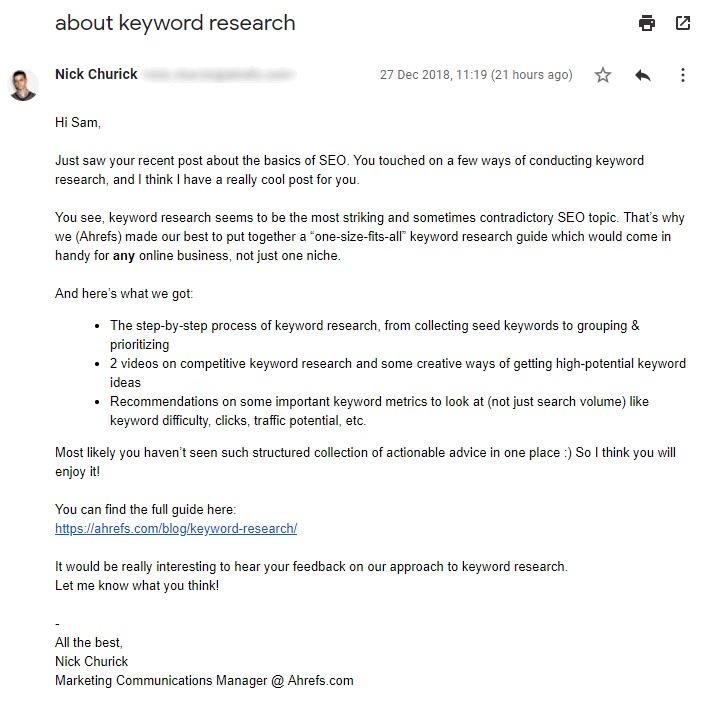 e-mail di sensibilizzazione ahrefs