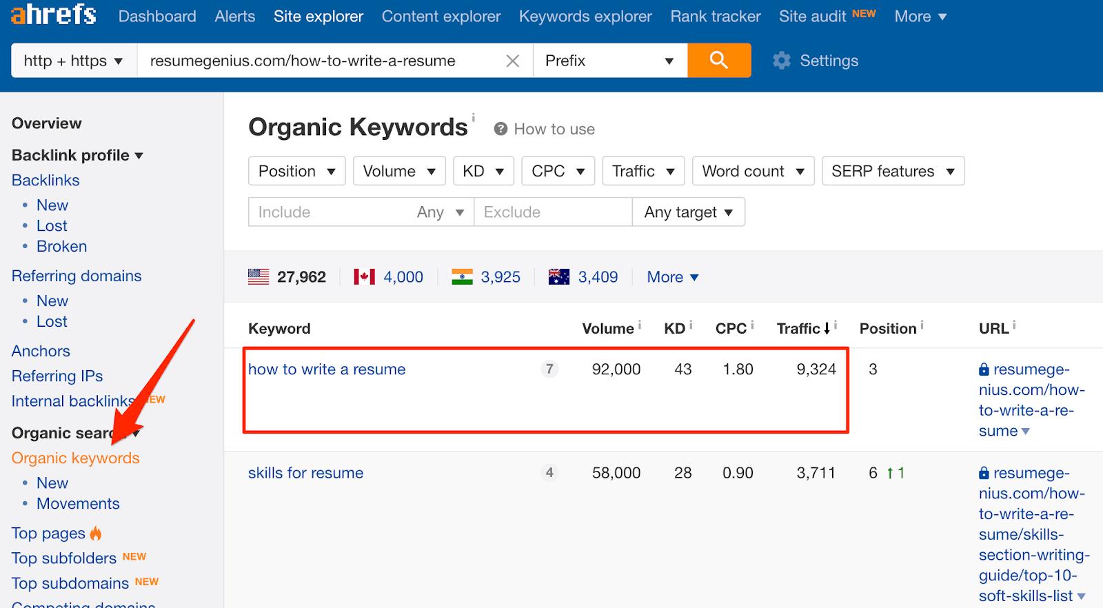 organic keywords resumegenius 1