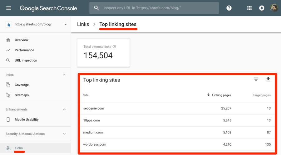 top linking sites search console