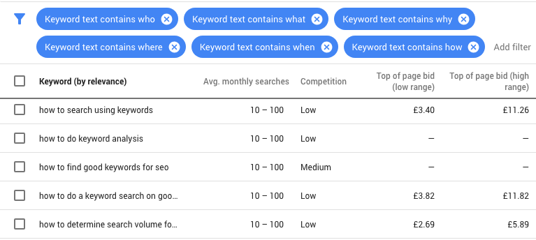 filters questions google keyword planner